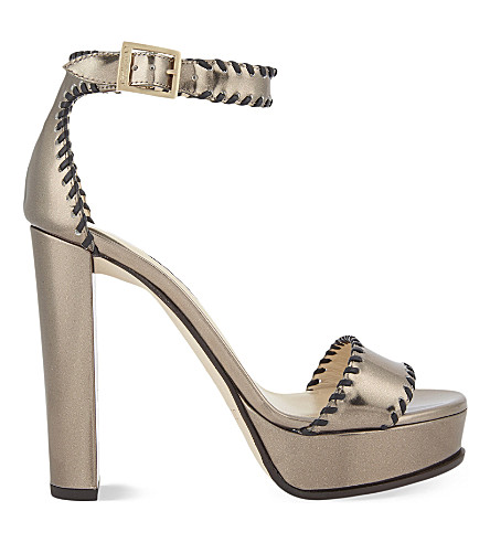 JIMMY CHOO Holly 120 leather heeled sandals (Pyrite/black
