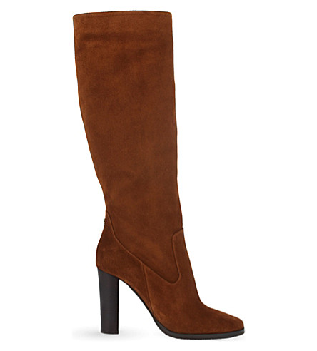 JIMMY CHOO Honor 95 suede knee-high boots (Canyon