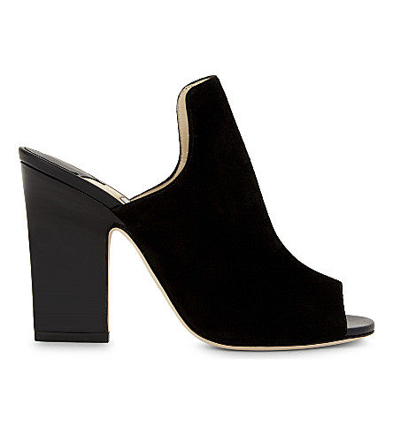 JIMMY CHOO Hustle 100 suede heeled mules (Black/black
