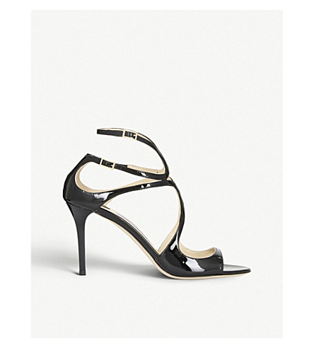 JIMMY CHOO Ivette 85 patent-leather heeled sandals (Black