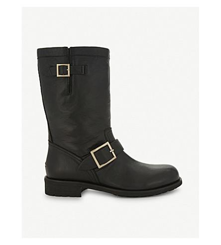 JIMMY CHOO Biker leather boots (Black