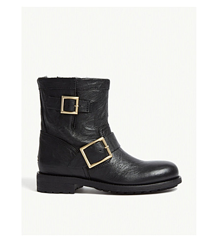 3240af27054 ... JIMMY CHOO Youth leather biker boots (Black. PreviousNext