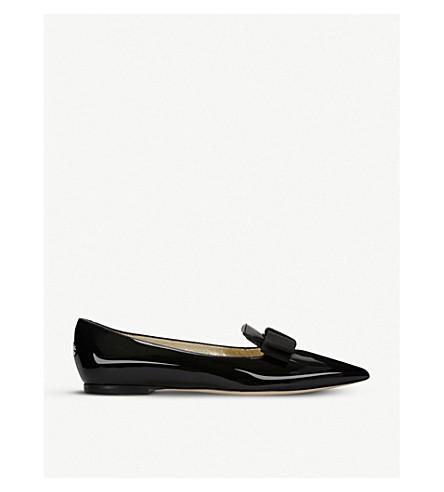 JIMMY CHOO Gala patent-leather pointed-toe flats (Black