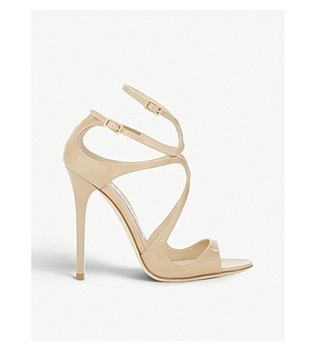 JIMMY CHOO Lance 115 patent-leather heeled sandals (Nude