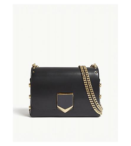 JIMMY CHOO Lockett Petite leather cross-body bag (Black/gold