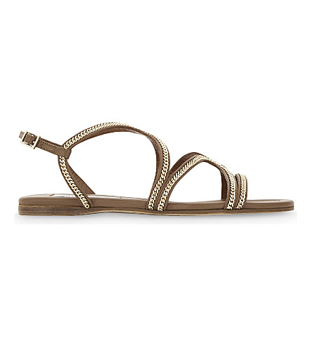 JIMMY CHOO Nickel flat leather sandals (Canyon