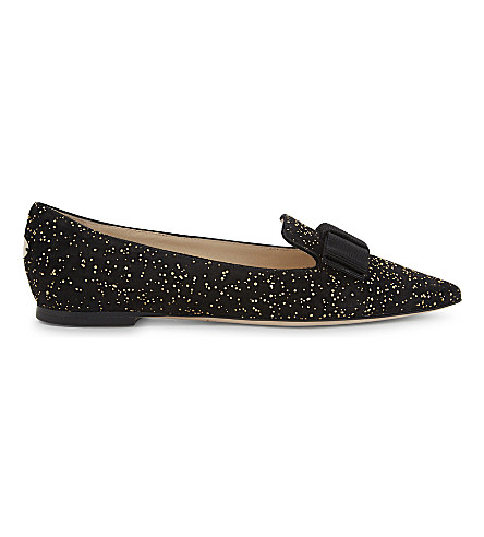 JIMMY CHOO Gala suede pointed-toe flats (Black/gold