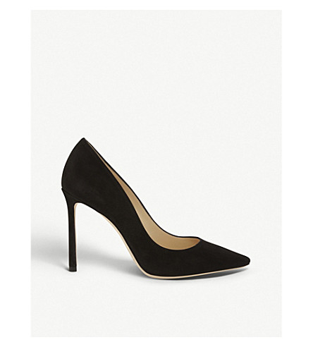 JIMMY CHOO Romy 100 suede courts (Black