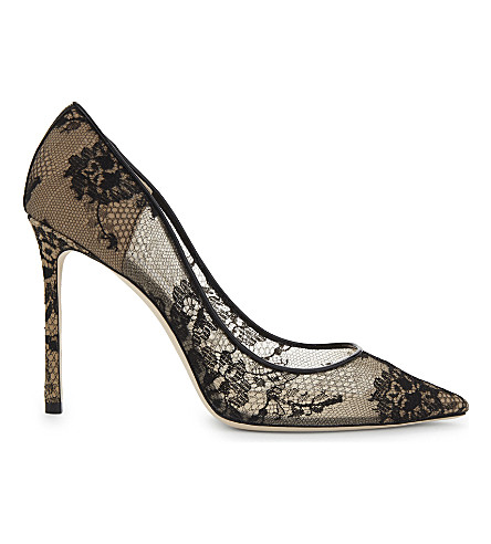 JIMMY CHOO Romy 100 lace courts (Black