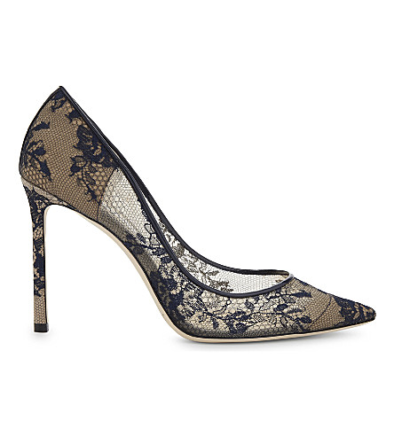 JIMMY CHOO Romy 100 lace courts (Navy
