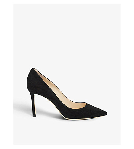 JIMMY CHOO Romy 85 suede courts (Black