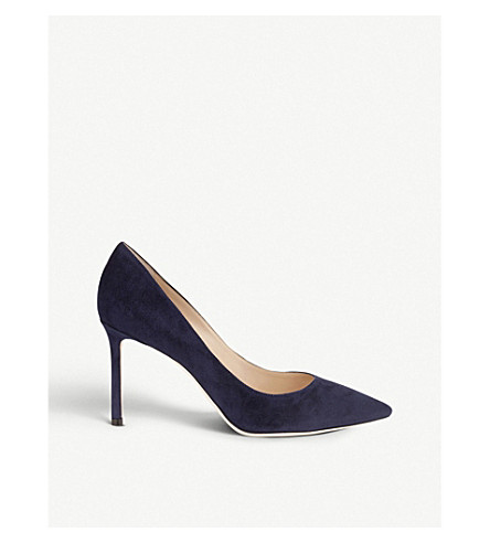 JIMMY CHOO Romy 85 suede courts (Navy