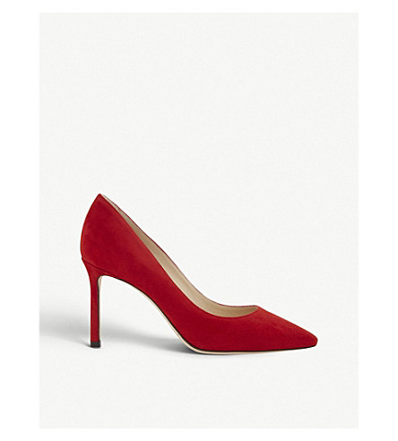 JIMMY CHOO Romy 85 suede courts (Red