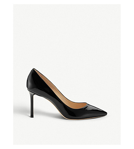 JIMMY CHOO Romy 85 patent-leather courts (Black