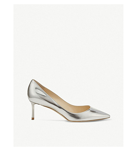 JIMMY CHOO Romy 60 mirror-leather courts (Silver