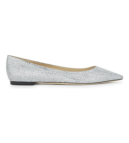 JIMMY CHOO Romy glitter leather flats (Silver