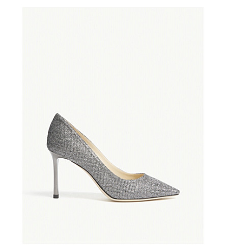 JIMMY CHOO Romy 85 Anthracite Lamé Glitter heeled pumps (Anthracite