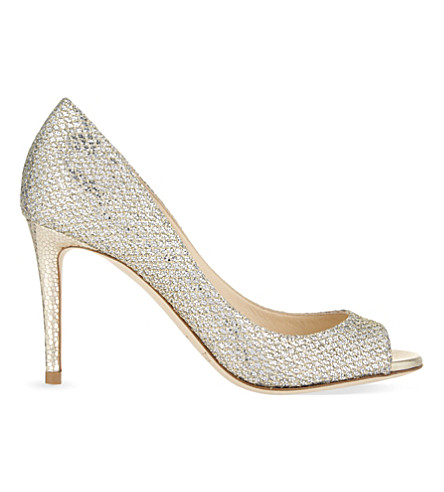 JIMMY CHOO Evelyn 85 glitter fabric courts (Champagne