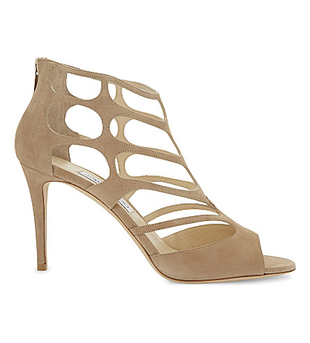 JIMMY CHOO Ren 85 suede heeled sandals (Nude
