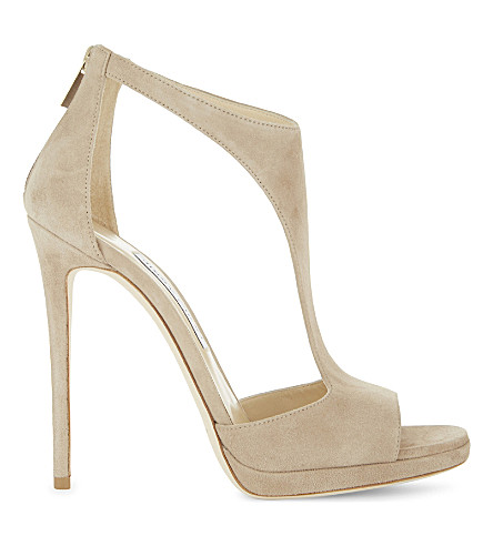 JIMMY CHOO Lana 120 suede heeled sandals (Nude