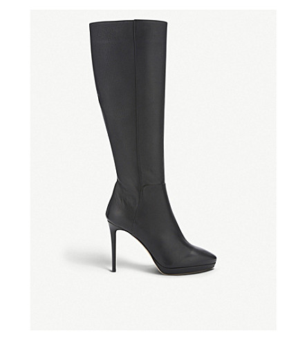 JIMMY CHOO Hoxton 100 grainy calf leather knee-high boots (Black