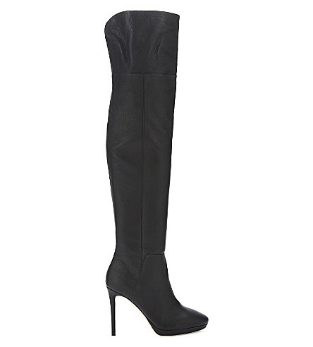 JIMMY CHOO Hayley 100 grainy calf leather over-the-knee boots (Black