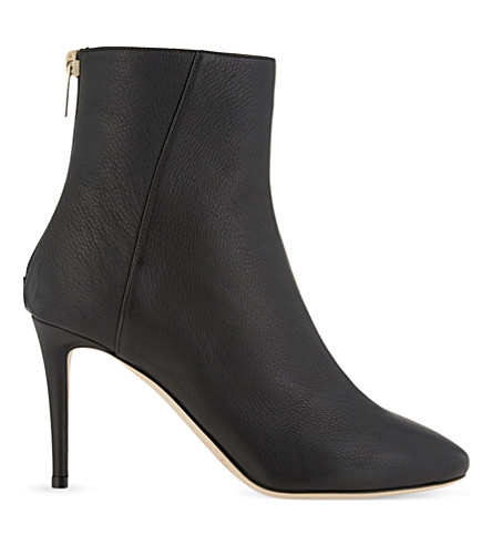 JIMMY CHOO Duke 85 grainy leather heeled boots (Black