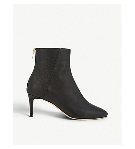 JIMMY CHOO Duke 65 grainy leather heeled boots (Black