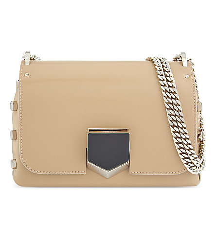 JIMMY CHOO Lockett Petite leather shoulder bag (Nude/chrome