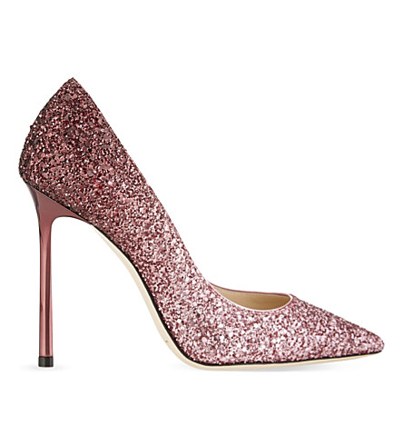 JIMMY CHOO Romy 110 coarse glitter courts (Pink/bordeaux