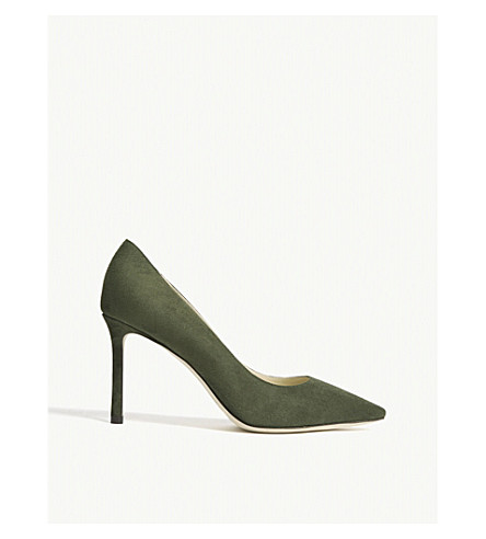 JIMMY CHOO Romy 85 suede courts (Army+green