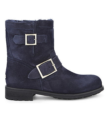 JIMMY CHOO Youth suede and shearling biker boots (Navy