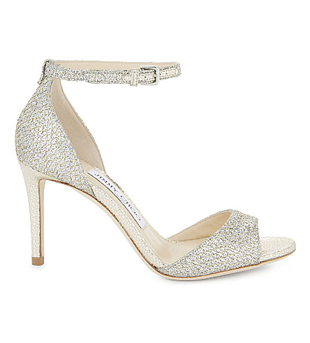 JIMMY CHOO Tori 85 glitter heeled sandals (Champagne