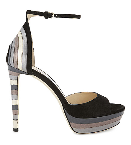 JIMMY CHOO Max 120 leather and suede heeled sandals (Black mix