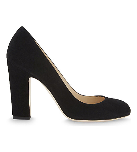 JIMMY CHOO Billie 100 suede courts (Black