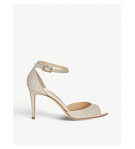 JIMMY CHOO Annie 85 glitter heeled sandals (Platinum+ice