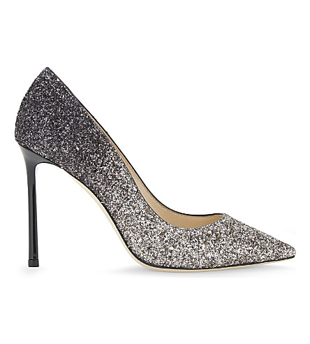 JIMMY CHOO Romy 100 speckled-glitter courts (Light+mocha/black