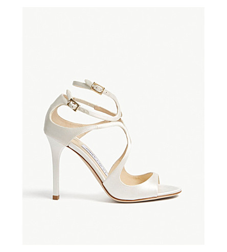 JIMMY CHOO Lang 100 patent-leather heeled sandals (Ivory