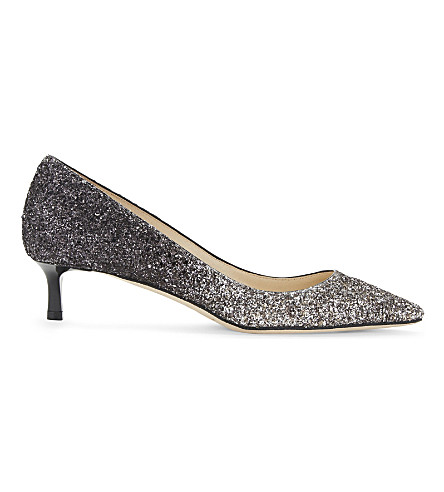 JIMMY CHOO Romy 40 glitter courts (Light+mocha/black