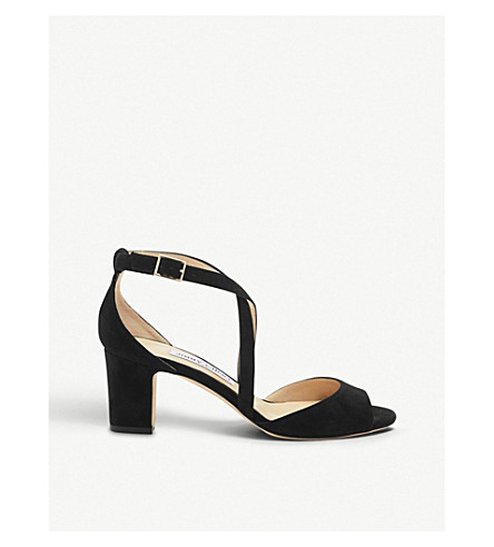 JIMMY CHOO Carrie 65 suede heeled sandals (Black