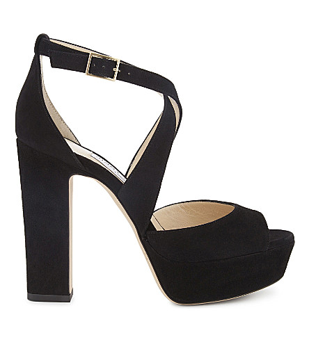 JIMMY CHOO April 120 suede heeled sandals (Black