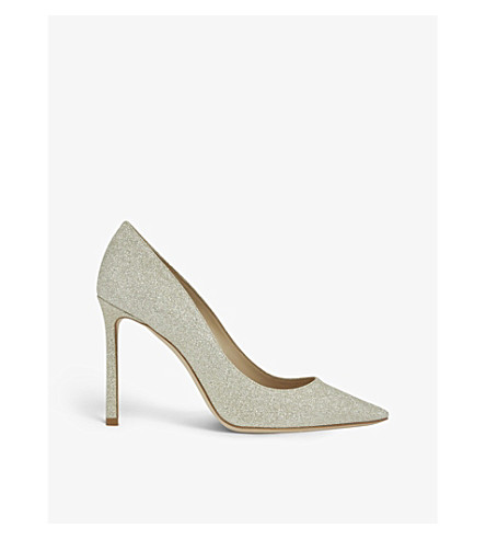 JIMMY CHOO Romy 100 dusty-glitter courts (Platinum+ice