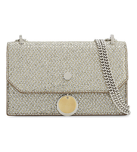 JIMMY CHOO Finley glitter cross-body bag (Champagne
