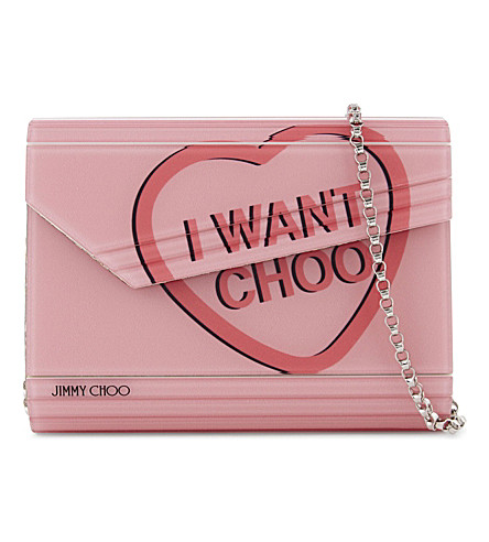 JIMMY CHOO Candy love heart acrylic clutch (Camellia