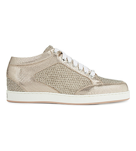 JIMMY CHOO Miami metallic glitter trainers (Tea+rose