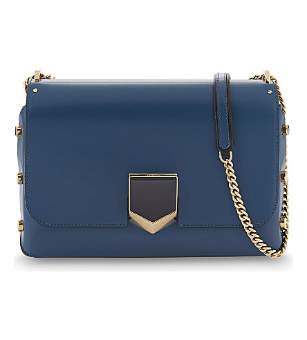 JIMMY CHOO Lockett leather shoulder bag (Midnight+blue