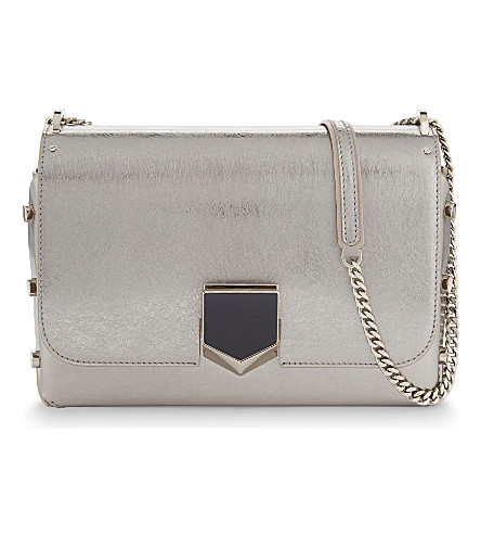 JIMMY CHOO Lockett metallic leather shoulder bag (Vintage+silver