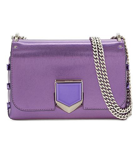 JIMMY CHOO Lockett petite etched-leather shoulder bag (Madeline