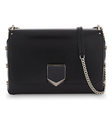 JIMMY CHOO Lockett leather shoulder bag (Black/chrome