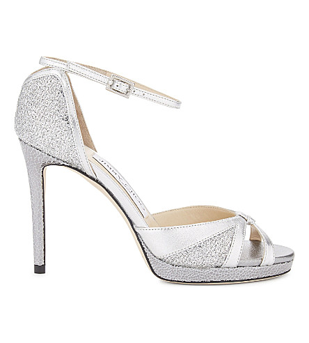 JIMMY CHOO Talia 100 glitter fabric and leather heeled sandals (Silver